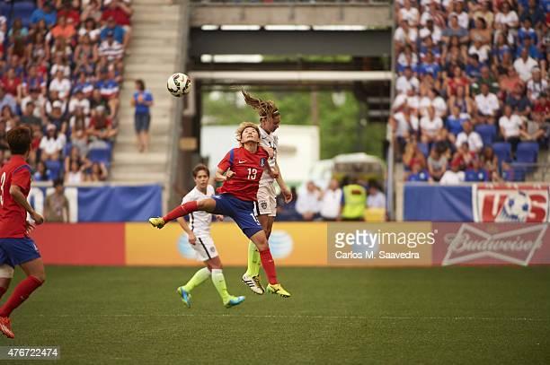 USA Morgan Brian in action head ball vs South Korea Kang Yumi during International Friendly at Red Bull Arena Harrison NJ 5/30/2015 CREDIT Carlos M...