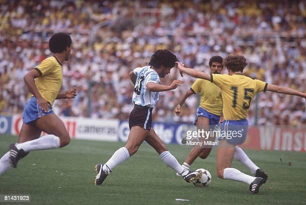 Soccer World Cup Argentina Diego Maradona in action vs Brazil Barcelona Spain 7/2/1982