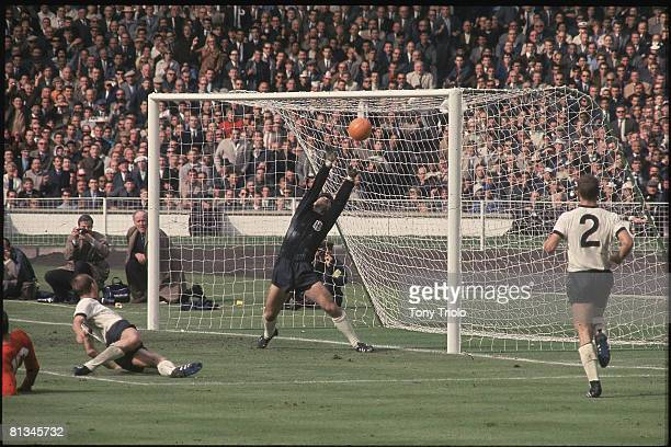 Soccer World Cup Final England Geoff Hurst in action scoring contrversial goal off crossbar during overtime vs West Germany London GBR 7/30/1966