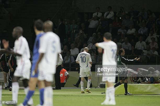 Soccer World Cup Final France Zinedine Zidane leaving field after red card from head butt vs Italy Marco Materazzi during game Berlin Germany 7/9/2006