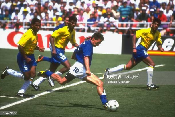 Soccer World Cup final ITA Roberto Baggio in action taking shot vs BRA Pasadena CA 7/17/1994