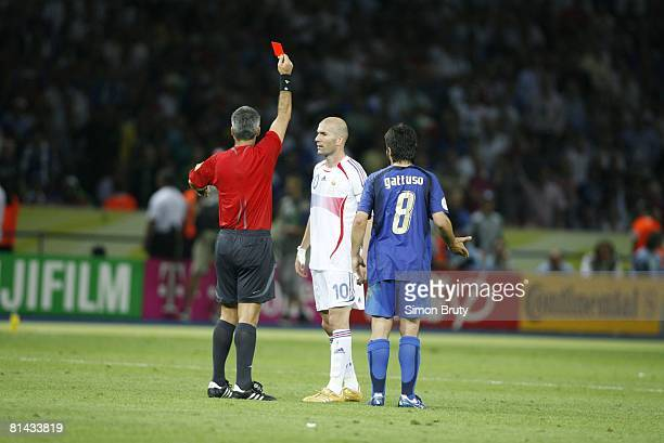 Soccer World Cup Final Referee Horacio Elizondo issuing red card and sending off France Zinedine Zidane after head butt vs Italy Marco Materazzi...