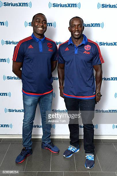 Soccer/football players Andy Cole and Dwight Yorke visit SiriusXM on May 06 2016 in New York New York