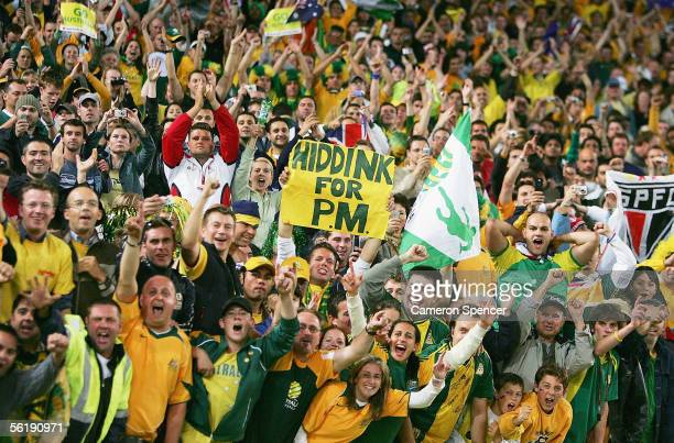 Socceroo fans enjoy the atmosphere during the second leg of the 2006 FIFA World Cup qualifying match between Australia and Uruguay at Telstra Stadium...