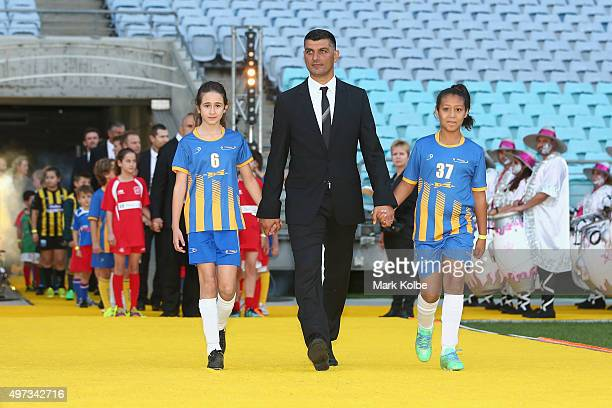Socceroo John Aloisi walks out onto the field for the 10th Anniversary Gala Event of 2006 FIFA World Cup Qualification Match Between Australia...