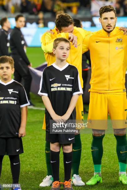 Socceroo Mark Milligan is emotional from the death of his grandfather before Brazil plays Australia in the Chevrolet Brasil Global Tour 2017 on June...