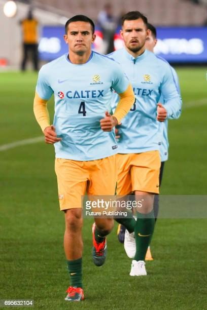 Socceroos and Tim Cahill during training before Brazil plays Australia in the Chevrolet Brasil Global Tour 2017 on June 13 2017 in Melbourne...