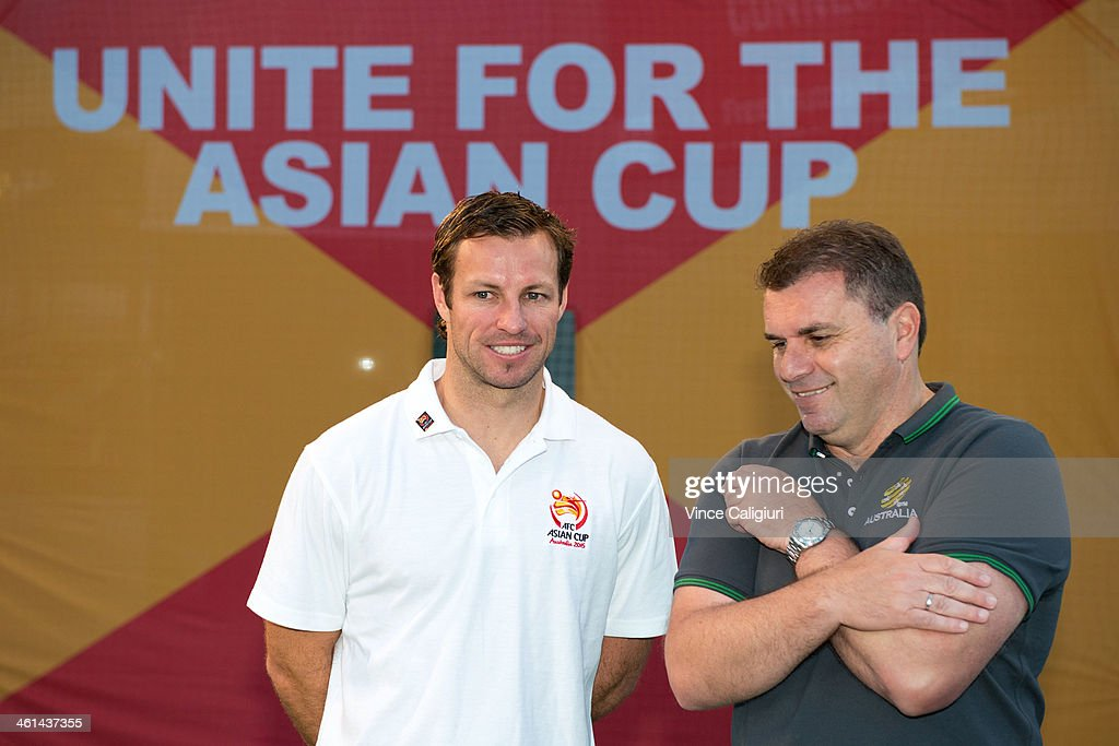 Socceroos Captain <a gi-track='captionPersonalityLinkClicked' href=/galleries/search?phrase=Lucas+Neill&family=editorial&specificpeople=213118 ng-click='$event.stopPropagation()'>Lucas Neill</a> and coach <a gi-track='captionPersonalityLinkClicked' href=/galleries/search?phrase=Ange+Postecoglou&family=editorial&specificpeople=3395755 ng-click='$event.stopPropagation()'>Ange Postecoglou</a> during the AFC Asian Cup 'One Year To Go' media session at Federation Square on January 9, 2014 in Melbourne, Australia.