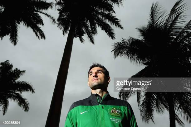 Socceroos captain Mile Jedinak poses during an Australian Socceroos media session at Hotel Ilha do Boi on June 20 2014 in Vitoria Brazil