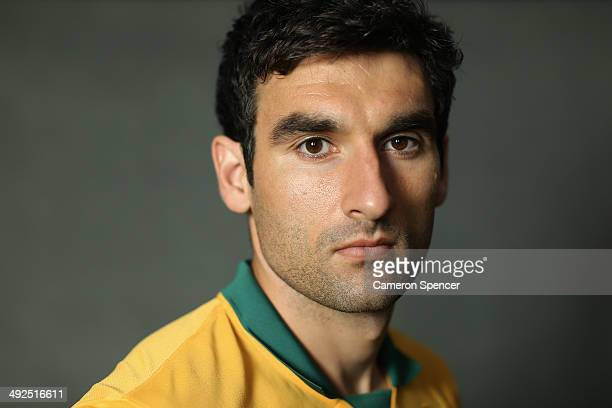 Socceroos captain Mile Jedinak poses during an Australian Socceroos portrait session at Crowne Plaza Terrigal on May 20 2014 in Sydney Australia