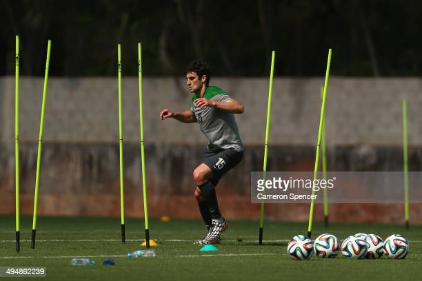 Socceroos captain Mile Jedinak trains separately to team mates during a FIFA Open Day Australian Socceroos training session at Arena Unimed Sicoob on...