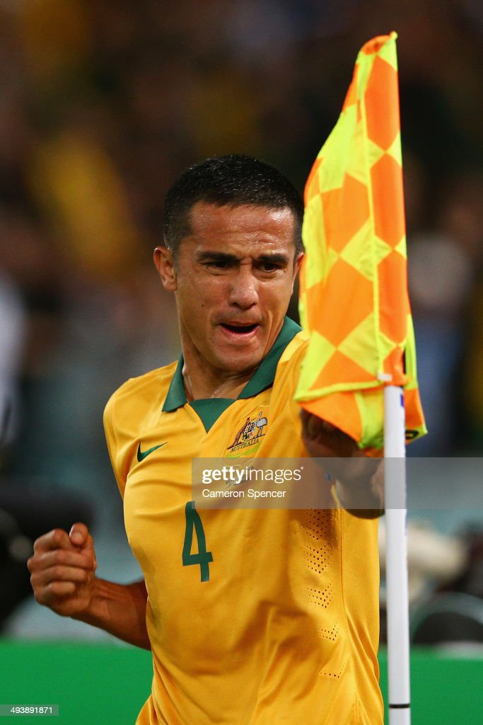 Socceroos captain <a gi-track='captionPersonalityLinkClicked' href=/galleries/search?phrase=Tim+Cahill+-+Soccer+Player&family=editorial&specificpeople=209085 ng-click='$event.stopPropagation()'>Tim Cahill</a> celebrates scoring a goal during the International Friendly match between the Australian Socceroos and South Africa at ANZ Stadium on May 26, 2014 in Sydney, Australia.
