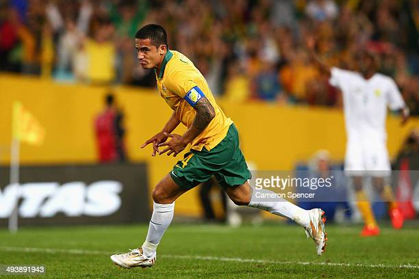 Socceroos captain Tim Cahill celebrates scoring a goal during the International Friendly match between the Australian Socceroos and South Africa at...