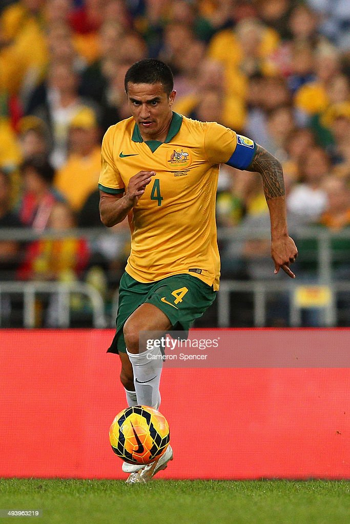 Socceroos captain Tim Cahill dribbles the ball during the International Friendly match between the Australian Socceroos and South Africa at ANZ Stadium on May 26, 2014 in Sydney, Australia.