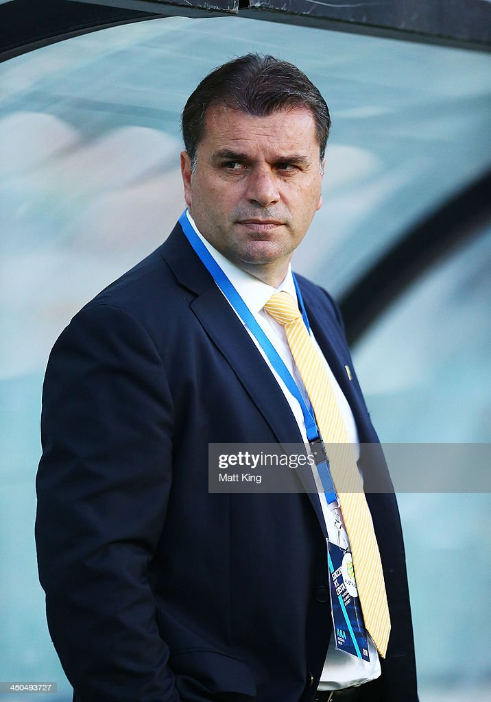Socceroos coach <a gi-track='captionPersonalityLinkClicked' href=/galleries/search?phrase=Ange+Postecoglou&family=editorial&specificpeople=3395755 ng-click='$event.stopPropagation()'>Ange Postecoglou</a> looks on as players warm up during the international friendly match between the Australian Socceroos and Costa Rica at Allianz Stadium on November 19, 2013 in Sydney, Australia.