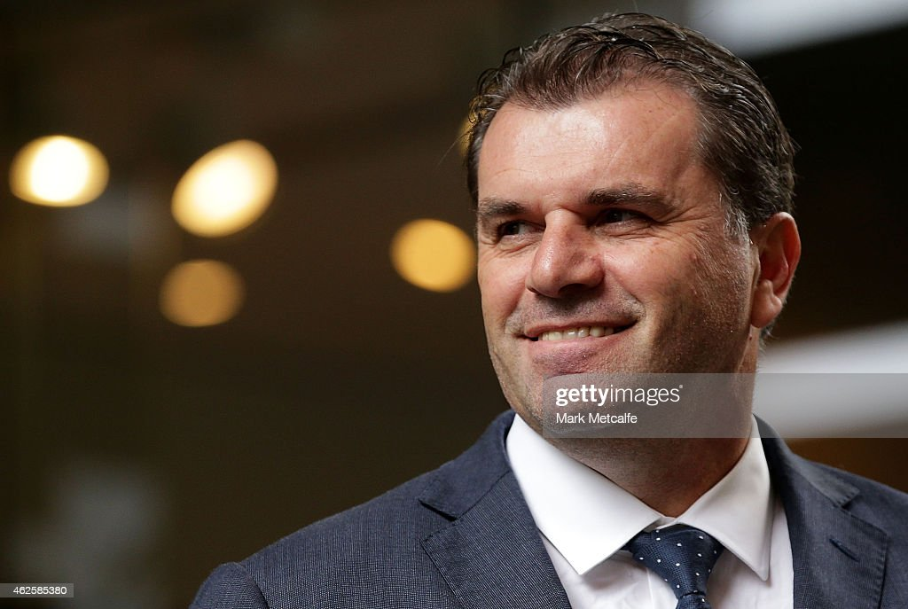 Socceroos coach <a gi-track='captionPersonalityLinkClicked' href=/galleries/search?phrase=Ange+Postecoglou&family=editorial&specificpeople=3395755 ng-click='$event.stopPropagation()'>Ange Postecoglou</a> looks on during celebrations at Westfield Sydney on February 1, 2015, after the Socceroos won the 2015 Asian Cup last night, in Sydney, Australia.
