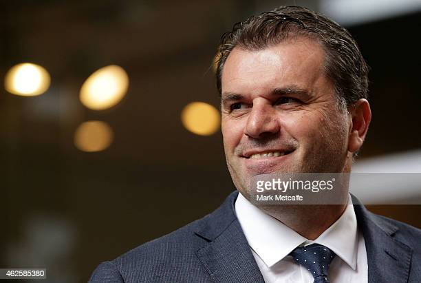 Socceroos coach Ange Postecoglou looks on during celebrations at Westfield Sydney on February 1 after the Socceroos won the 2015 Asian Cup last night...