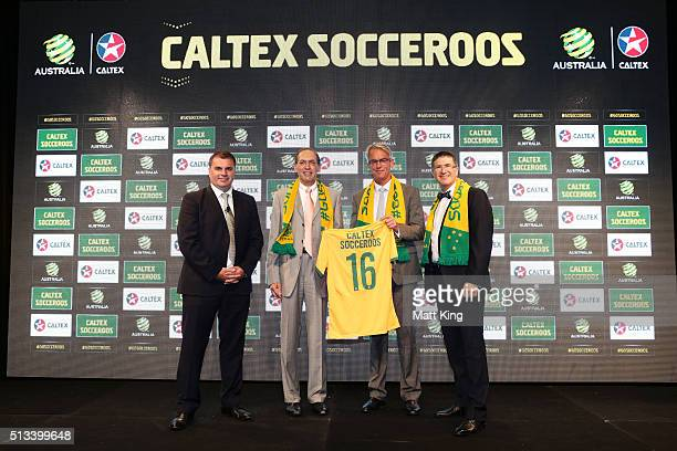 Socceroos coach Ange Postecoglou Managing Director and CEO Caltex Australia Julian Segal FFA CEO David Gallop and Caltex Australia Executive General...