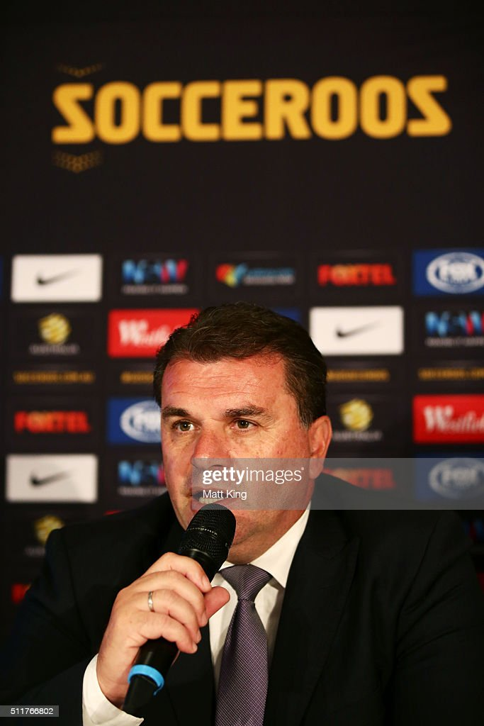 Socceroos coach <a gi-track='captionPersonalityLinkClicked' href=/galleries/search?phrase=Ange+Postecoglou&family=editorial&specificpeople=3395755 ng-click='$event.stopPropagation()'>Ange Postecoglou</a> speaks during an Australian Socceroos press conference at Alpha Restaurant on February 23, 2016 in Sydney, Australia.