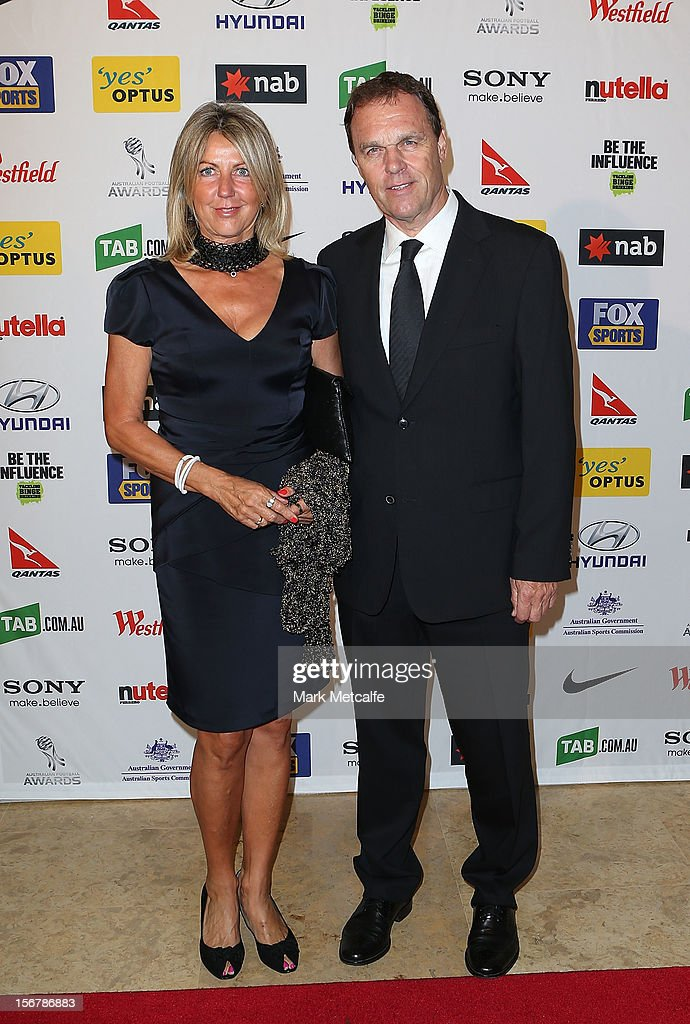 Socceroos coach <a gi-track='captionPersonalityLinkClicked' href=/galleries/search?phrase=Holger+Osieck&family=editorial&specificpeople=579862 ng-click='$event.stopPropagation()'>Holger Osieck</a> and his wife Elisabeth Osieck pose during the 2012 Australian Football Awards at Sofitel Hotel on November 21, 2012 in Sydney, Australia.