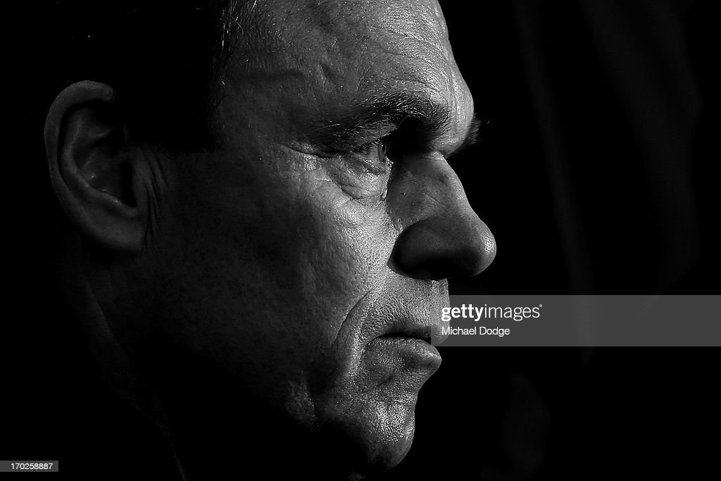 Socceroos coach <a gi-track='captionPersonalityLinkClicked' href=/galleries/search?phrase=Holger+Osieck&family=editorial&specificpeople=579862 ng-click='$event.stopPropagation()'>Holger Osieck</a> looks ahead during an Australian Socceroos press conference at Etihad Stadium on June 10, 2013 in Melbourne, Australia.