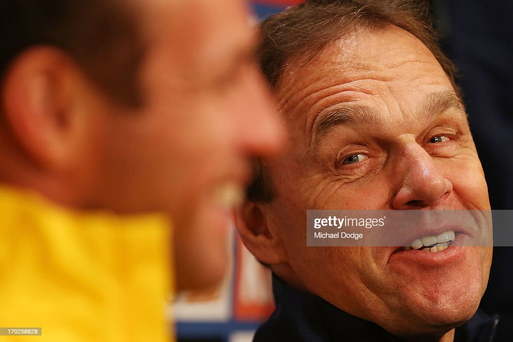 Socceroos coach <a gi-track='captionPersonalityLinkClicked' href=/galleries/search?phrase=Holger+Osieck&family=editorial&specificpeople=579862 ng-click='$event.stopPropagation()'>Holger Osieck</a> reacts during an Australian Socceroos press conference at Etihad Stadium on June 10, 2013 in Melbourne, Australia.