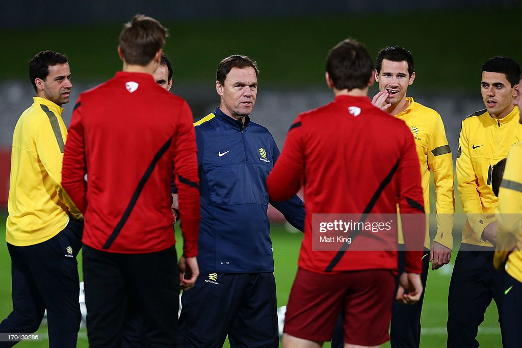 Socceroos coach Holger Osieck talks to players during an Australian Socceroos training session at WIN Jubilee Stadium on June 13, 2013 in Sydney, Australia.