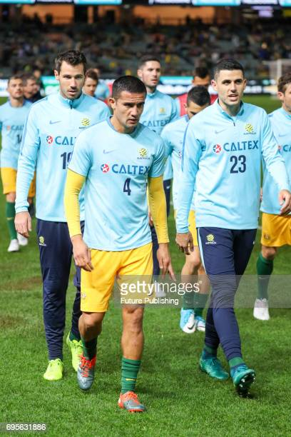 Socceroos during training before Brazil plays Australia in the Chevrolet Brasil Global Tour 2017 on June 13 2017 in Melbourne Australia Chris Putnam...