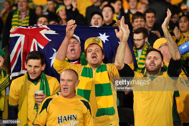 Socceroos fans show their support during the 2018 FIFA World Cup Qualifier match between the Australian Socceroos and Saudi Arabia at the Adelaide...