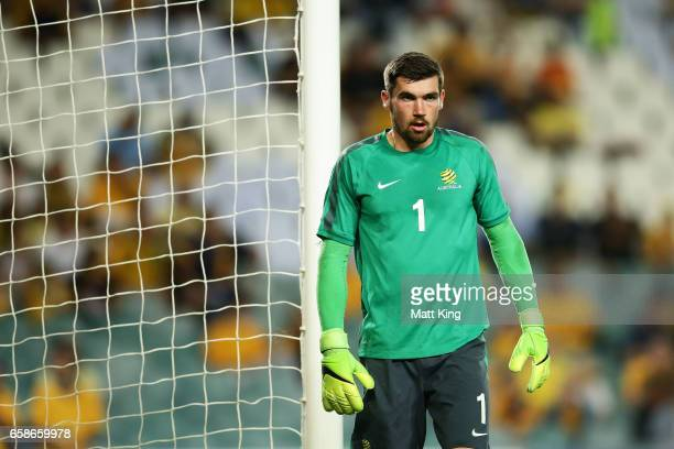 Socceroos goalkeeper Mathew Ryan warms up before during the 2018 FIFA World Cup Qualifier match between the Australian Socceroos and United Arab...
