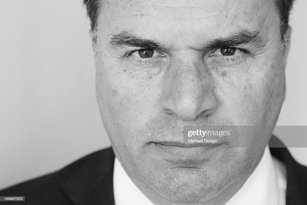 Socceroos head coach <a gi-track='captionPersonalityLinkClicked' href=/galleries/search?phrase=Ange+Postecoglou&family=editorial&specificpeople=3395755 ng-click='$event.stopPropagation()'>Ange Postecoglou</a> poses after an Australia Socceroos press conference at AAMI Park on March 11, 2015 in Melbourne, Australia. The Socceroos will play Germany and FYR Macedonia later this month.