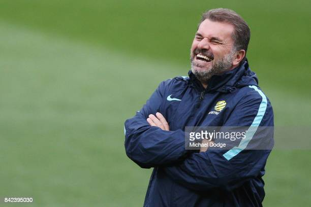 Socceroos head coach Ange Postecoglou reacts during an Australian Socceroos training session at AAMI Park on September 4 2017 in Melbourne Australia