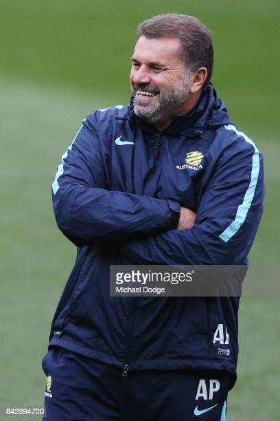 Socceroos head coach Ange Postecoglou reacts looks on during an Australian Socceroos training session at AAMI Park on September 4 2017 in Melbourne...