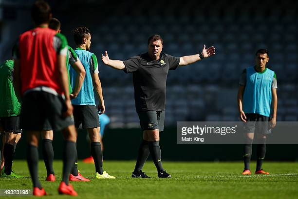 Socceroos Head Coach Ange Postecoglou speaks to his players during an Australian Socceroos training session at WIN Jubilee Stadium on May 23 2014 in...