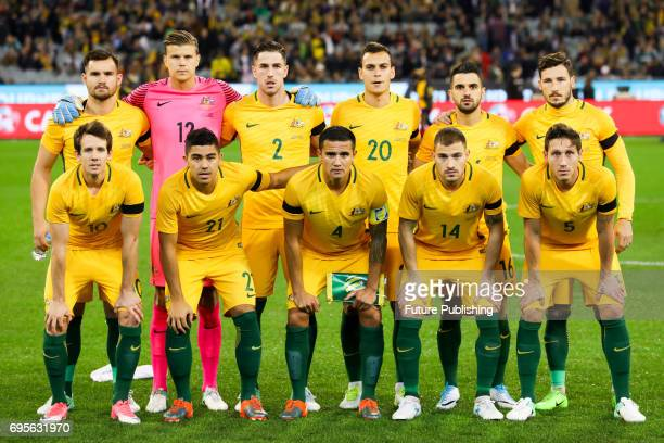 Socceroos squad photo before Brazil plays Australia in the Chevrolet Brasil Global Tour 2017 on June 13 2017 in Melbourne Australia Chris Putnam /...