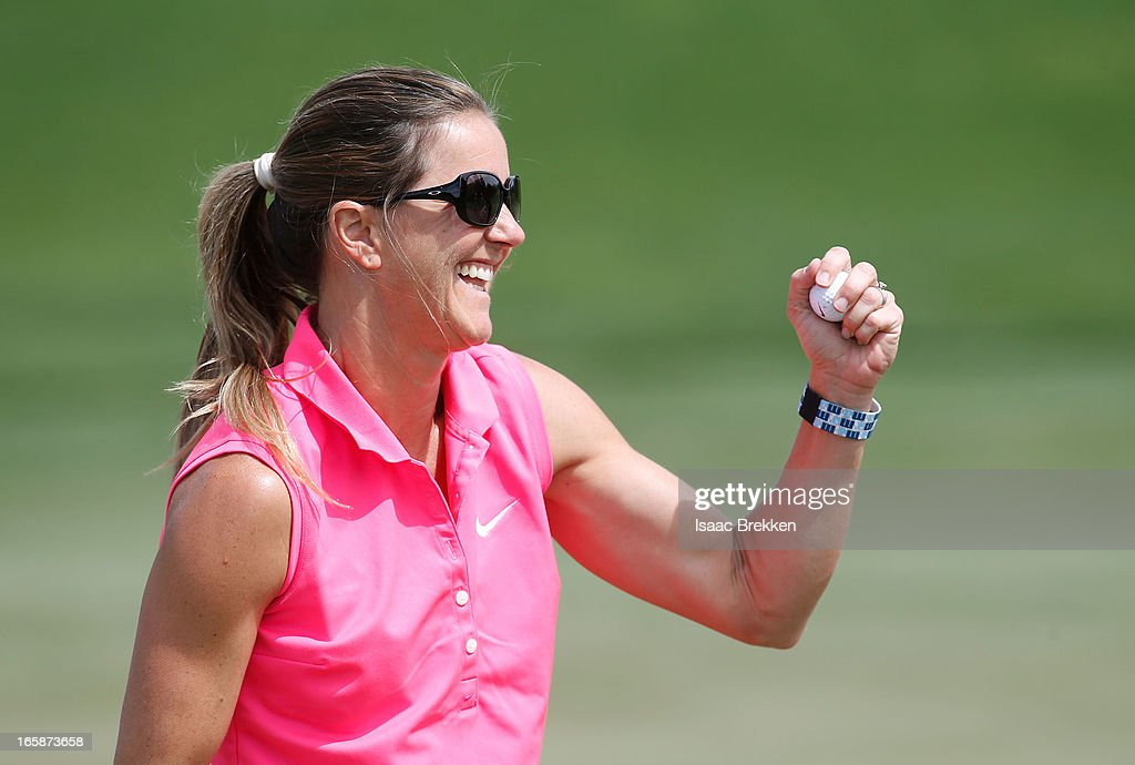 Soccor player <a gi-track='captionPersonalityLinkClicked' href=/galleries/search?phrase=Brandi+Chastain&family=editorial&specificpeople=213795 ng-click='$event.stopPropagation()'>Brandi Chastain</a> reacts after sinking a putt during ARIA Resort & Casino's Michael Jordan Celebrity Invitational golf tournament at Shadow Creek on April 6, 2013 in North Las Vegas, Nevada.