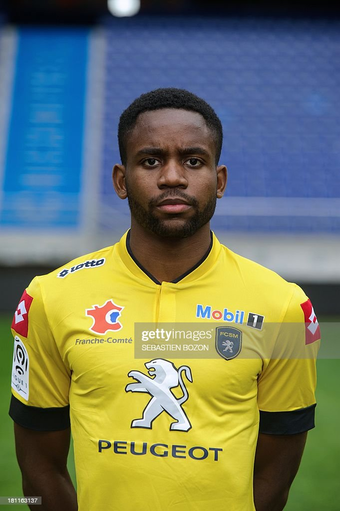 Sochaux French forward <a gi-track='captionPersonalityLinkClicked' href=/galleries/search?phrase=Cedric+Bakambu&family=editorial&specificpeople=7119714 ng-click='$event.stopPropagation()'>Cedric Bakambu</a> poses on September 19, 2013, at the Auguste Bonal Stadium in Montbeliard, eastern France.