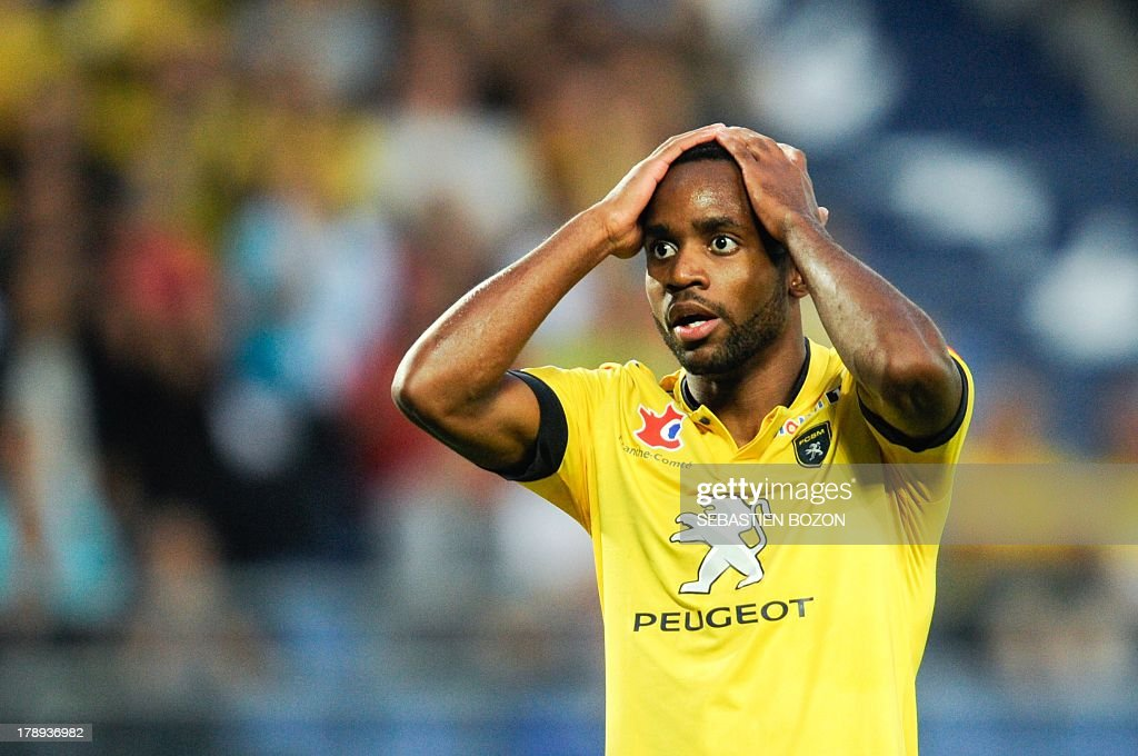 Sochaux French forward <a gi-track='captionPersonalityLinkClicked' href=/galleries/search?phrase=Cedric+Bakambu&family=editorial&specificpeople=7119714 ng-click='$event.stopPropagation()'>Cedric Bakambu</a> reacts during the French L1 football match between Sochaux (FCSM) and Ajaccio (ACA) on August 31, 2013, at the Auguste Bonal Stadium in Montbeliard, eastern France.