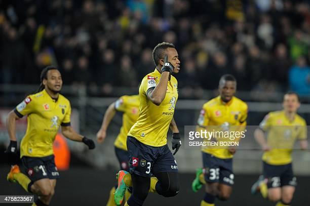 Sochaux French forward Jordan Ayew celebrates after scoring a goal during the French L1 football match between FC Sochaux and Girondins de Bordeaux...