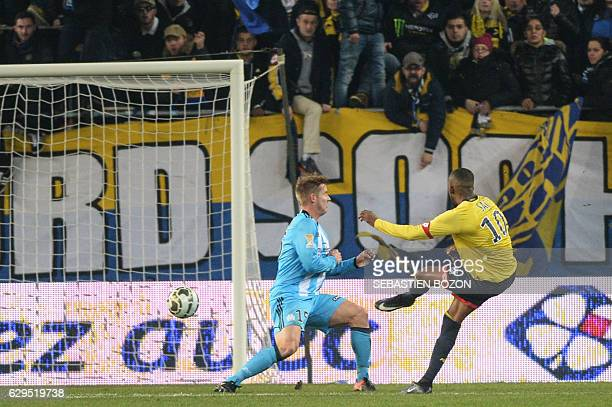 FC Sochaux' French forward Moussa Sao scores a goal during the French League Cup football match Sochaux vs Olympique de Marseille on December 13 at...