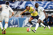 Sochaux' French forward Moussa Sao vies with Marseille's French defender Benjamin Mendy during the French Cup semifinal football match between...