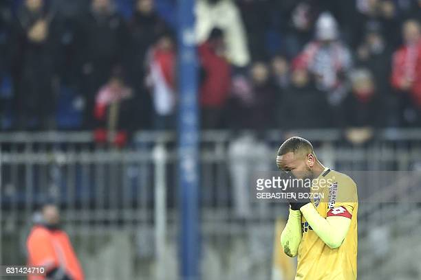 FC Sochaux' French midfielder Marco Ilaimaharitra reacts during the penaltys session during the French League Cup football match Sochaux vs Monaco on...