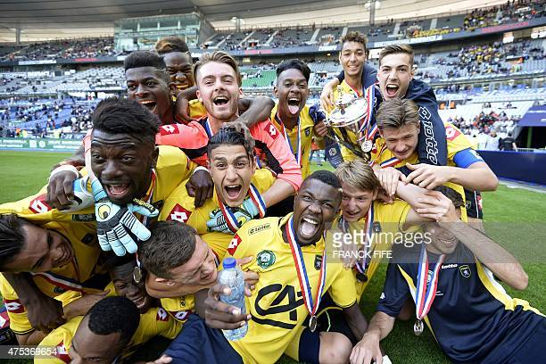 Sochaux's forward Marcus Thuram son of French football legend Lilian Thuram celebrates his victory against Lyon during the French Gambardella Cup...