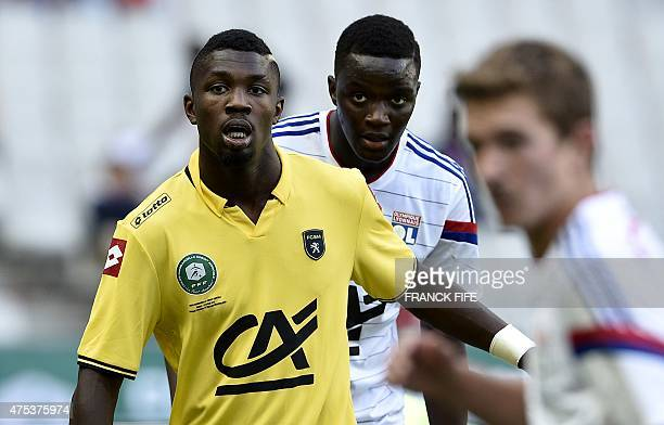 Sochaux's forward Marcus Thuram son of French football legend Lilian Thuram reacts during the French Gambardella Cup final football match between...