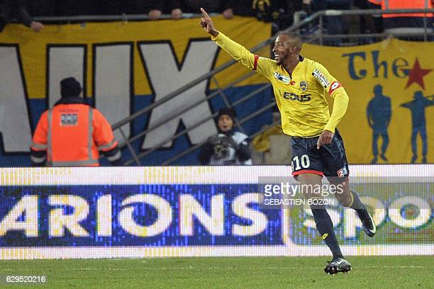 FC Sochaux's French forward Moussa Sao celebrates after scoring a goal during the French League Cup football match Sochaux vs Olympique de Marseille...