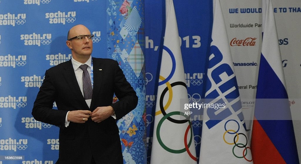 Sochi 2014 CEO Dmitry Chernyshenko arrives for a press conference on the results of the IOC Coordination Commission's 9th meeting for the XXII Olympic Winter Games in the Russian Black Sea resort of Sochi on March 13, 2013.
