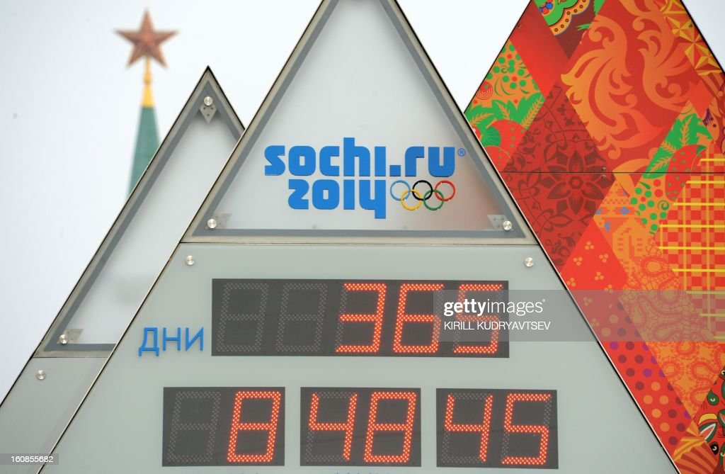 Sochi 2014 countdown clock rises just outside the Kremlin in Moscow, on February 7, 2013. The clock screens display number of days (top) and time (hours, minutes, seconds) left to the Winter Olympics opening.