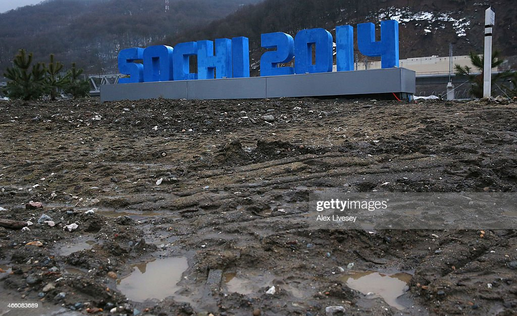 A Sochi 2014 sign is seen at the Rosa Khutor Mountain Cluster village ahead of the Sochi 2014 Winter Olympics on January 31, 2014 in Rosa Khutor, Sochi.