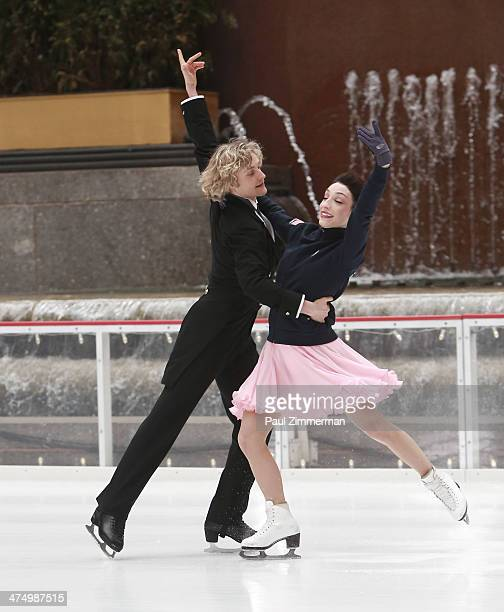 Sochi Olympic Gold Ice Dancing Champions Charlie White and Meryl Davis perform at The Rink at Rockefeller Center on February 26 2014 in New York City