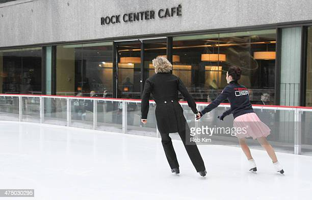 Sochi Olympic ice dancing gold medal champions Meryl Davis and Charlie White performs at The Rink at Rockefeller Center on February 26 2014 in New...